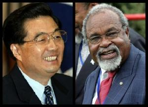 Chinese President Hu Jintao and PNG Prime Minister Sir Michael Somare