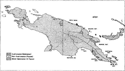 The distribution of Austronesian (Melanesian) and Non-Austronesian (Papuan) in New Guinea and in New Britain of the Bismarck Archipelago