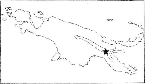 The proposed avenue of entrance of the sweet potato into New Guinea from the Bismark Archipelago area, and the proposed routes of its spread to the northeast and southwest area of the Markham Valley region.