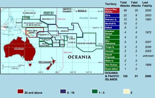 1925-2007 Map of Oceania/Pacific Ocean Islands Confirmed Unprovoked Shark Attacks (N=125)
