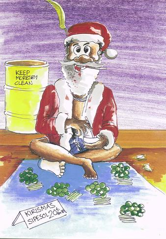 Santa selling his betelnut.