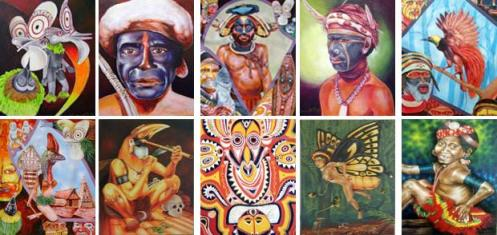 A Collection of Thumbnails of some of PNG's Philemon Yalamu's Pieces